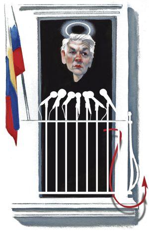 Julian Assange en el balcón