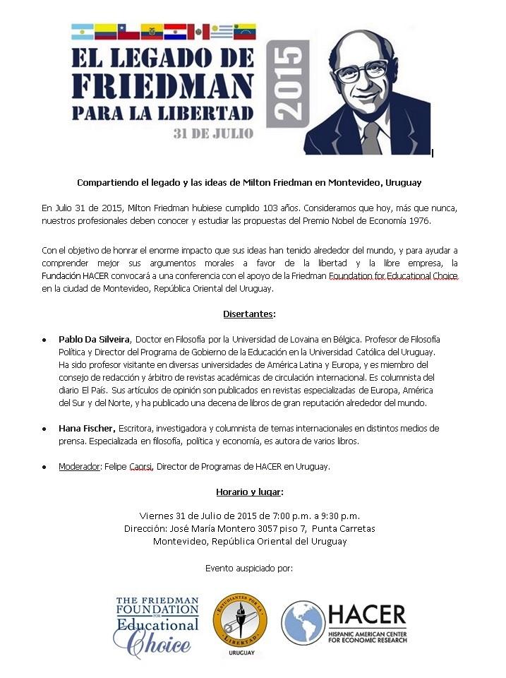Flyer Conferencia sobre milton Friedman 2015